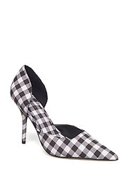 Gingham check shoes - BLACK