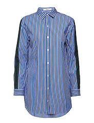 Decorative trims striped shirt - MEDIUM BLUE