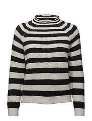 Striped cotton sweater - LIGHT BEIGE