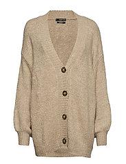 Buttoned long cardigan - MEDIUM BROWN