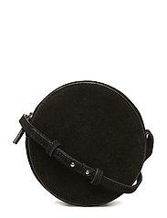 Round leather bag - BLACK