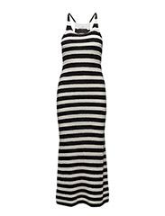 Striped cotton dress - BLACK