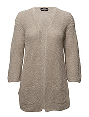 Open knit cardigan - LT PASTEL BROWN