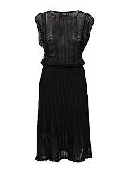 Contrast-bodice jersey dress - BLACK