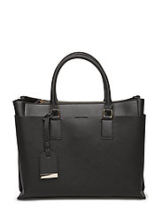 Saffiano-effect shopper bag - BLACK