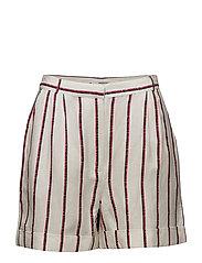 Striped linen shorts - NATURAL WHITE