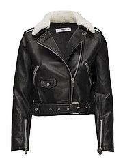 Faux shearling jacket - BLACK