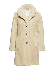 Lapels faux fur coat - LT PASTEL GREY