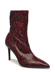 Snake-effect ankle boots - RED
