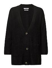 Long wool-blend cardigan - BLACK
