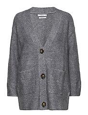 Long wool-blend cardigan - MEDIUM GREY