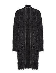 Faux fur knit cardigan - BLACK