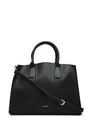 Saffiano-effect tote bag - BLACK