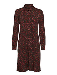 Flowy print dress - DARK BROWN