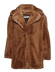 Faux fur coat - DARK BROWN