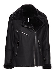 Faux fur biker jacket - BLACK