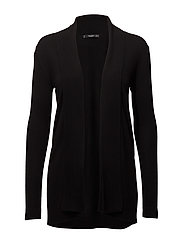 Ribbed detail cardigan - BLACK