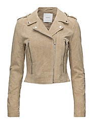 Suede biker jacket - MEDIUM BROWN