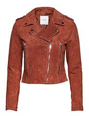 Suede biker jacket - MEDIUM BROWN