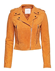 Suede biker jacket - MEDIUM YELLOW