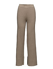 Ribbed flare trousers - MEDIUM BROWN