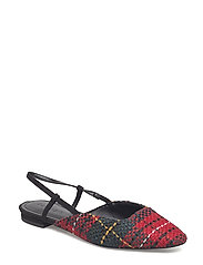 Tweed slingback shoes - RED