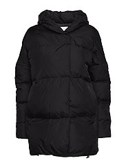 Quilted water-repellent coat - BLACK