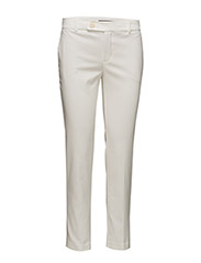 Slim-fit cotton-blend trousers - WHITE
