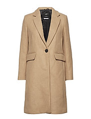 Structured wool coat - MEDIUM BROWN