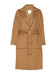 Unstructured wool-blend coat - MEDIUM BROWN