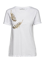 Sequined cotton t-shirt - WHITE