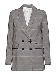 Houndstooth suit blazer - BROWN