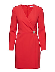 Button wrap dress - RED