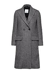 Lapels structured coat - BLACK