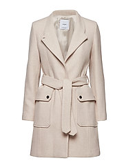 Belted wool coat - MEDIUM BROWN