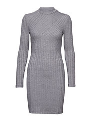 Ribbed jersey dress - MEDIUM GREY