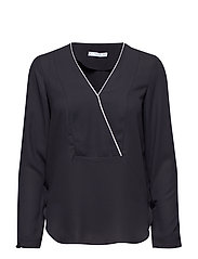 Contrast trim blouse - BLACK