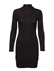 Tailored ribbed dress - BLACK
