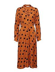 Polka-dot print dress - BROWN