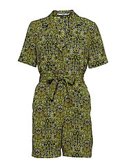 Flower short jumpsuit - GREEN