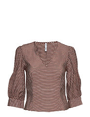 Gingham check blouse - RED