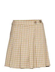 Check miniskirt - LIGHT BEIGE