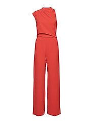 Asymmetric long jumpsuit - RED