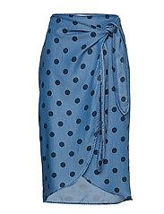 Wrap print skirt - OPEN BLUE