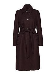 Structured wool coat - DARK BROWN