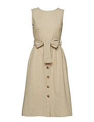 Stripe textured dress - LIGHT BEIGE