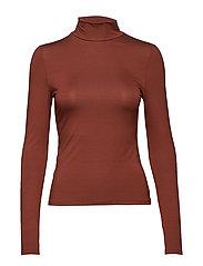 High collar t-shirt - BROWN