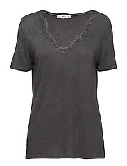 Lace detail t-shirt - CHARCOAL