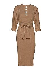 Button wool-blend dress - BROWN
