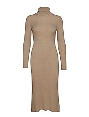Ribbed midi dress - MEDIUM BROWN